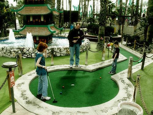 Having fun at Mini Golf