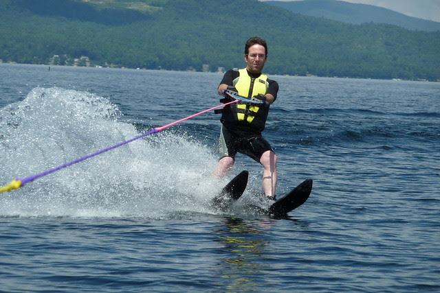 Doug waterskiing