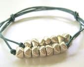 Genuine Leather Adjustable Double Strand Knotted Bracelet