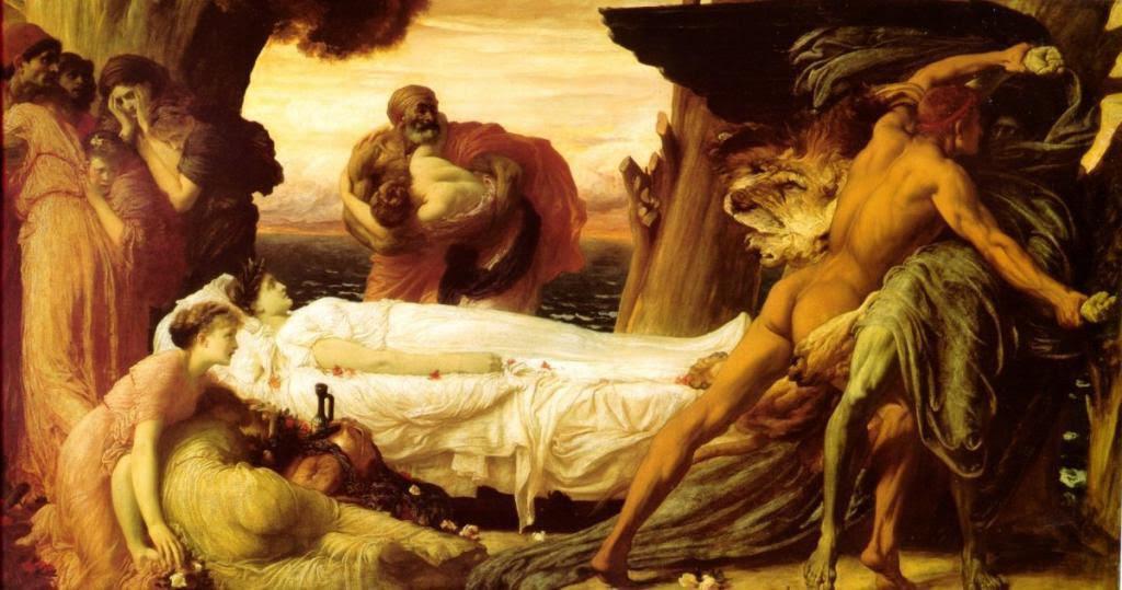 Leighton - Hercule luttant contre la mort pour le corps d'Alceste - 1871