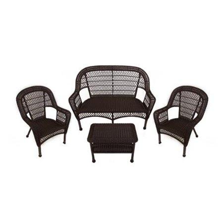 4-Piece Brown Resin Wicker Patio Furniture Set - Loveseat ...