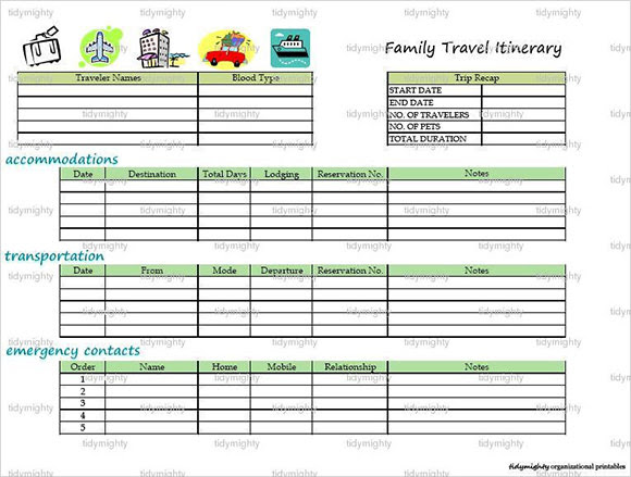 Family Vacation Itinerary Template