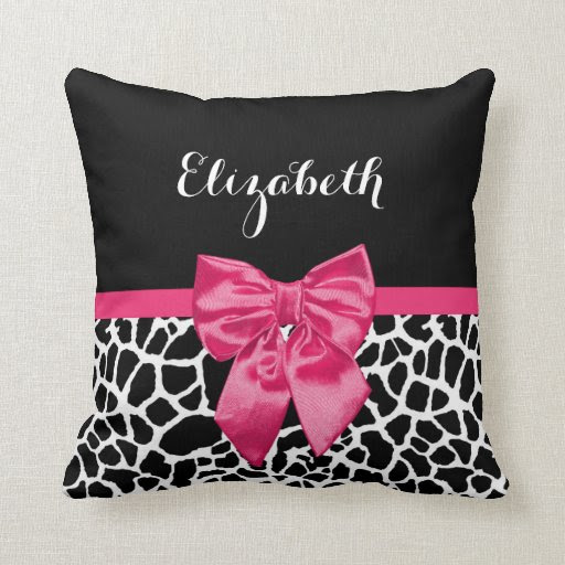 Cute Black Giraffe Print Girly Pink Bow and Name Pillows