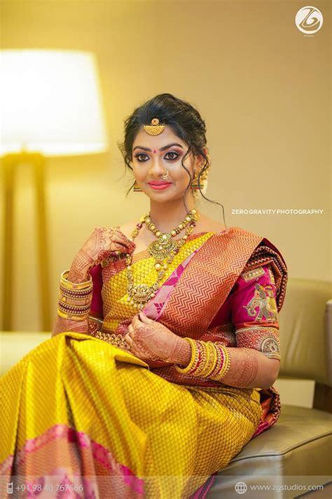 mustard and pink kanchipuram silk saree   Photo Gallery