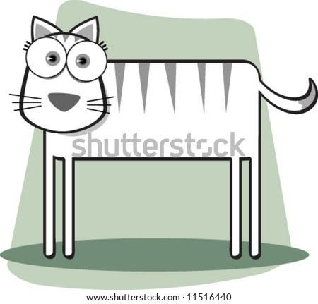 black and white cat cartoon. stock vector : Cartoon Cat in
