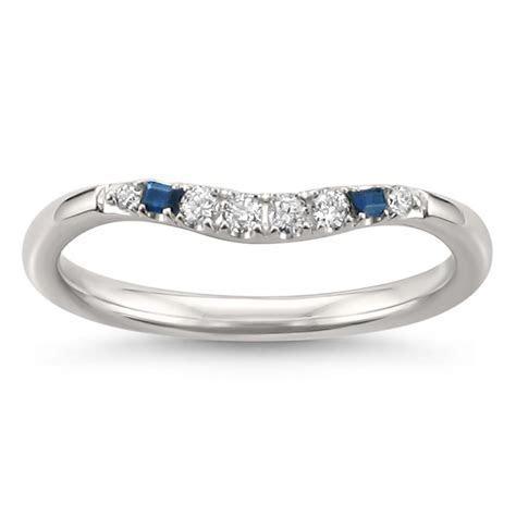 14k White Gold Blue Sapphire Baguette & Round Diamond