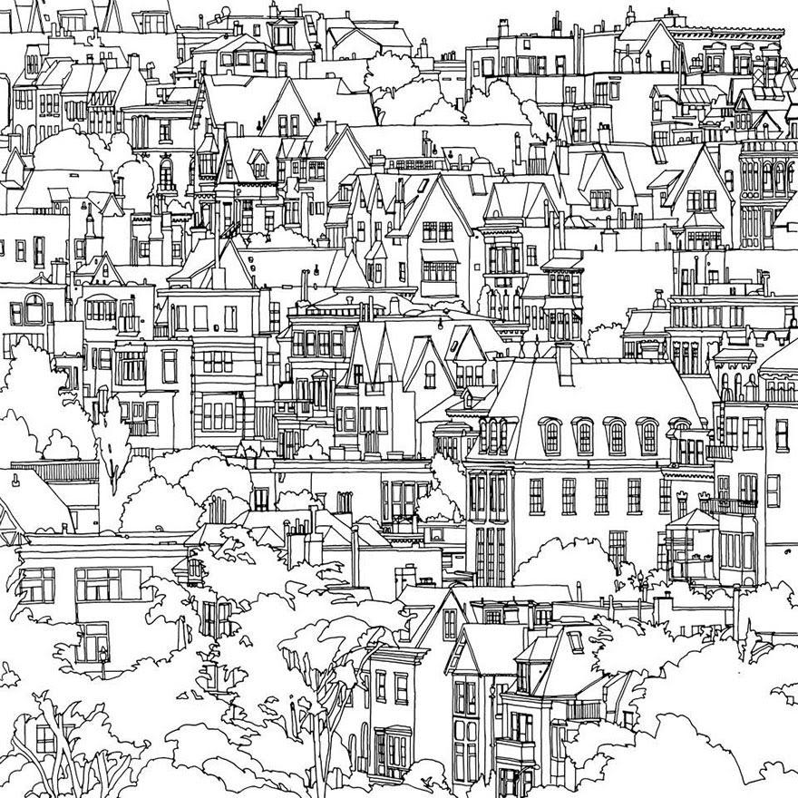 раскраски книга-взрослых-фантастические-города-Стив Макдональд-24