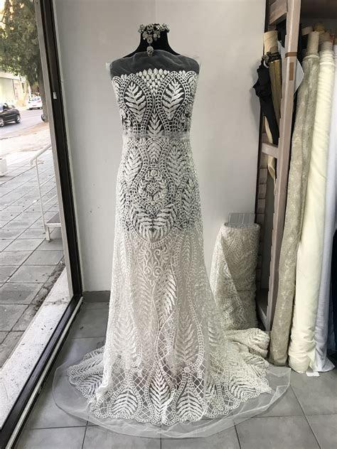 Off White Light Ivory bridal lace fabric embroidered