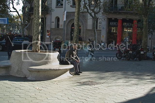 Man smoking sitting on modernista bench, Passeig de Gracia, Barcelona [enlarge]