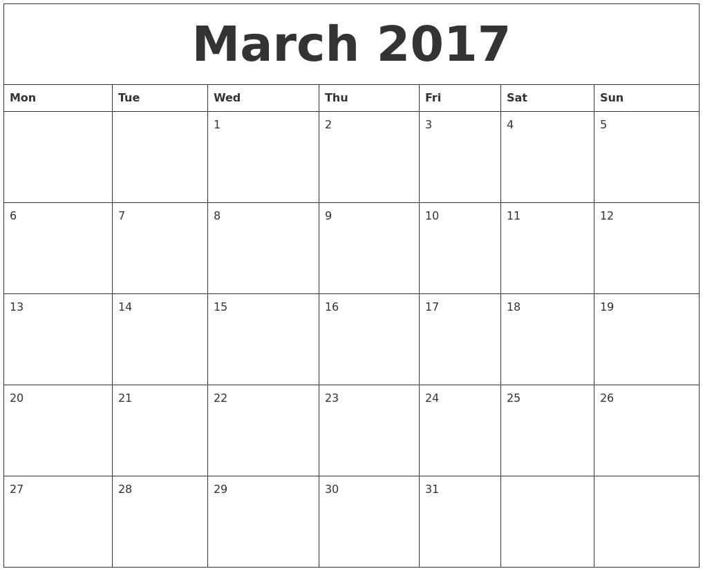Calendar March 2017 Editable   2017 calendars