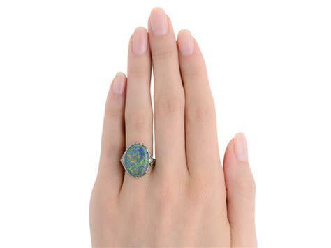 Night Escapade   Black Opal Art Deco Ring