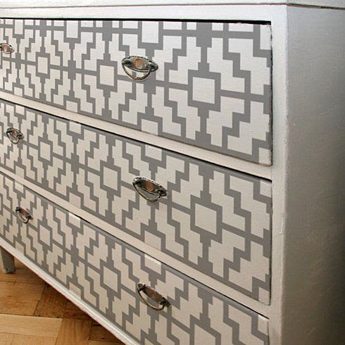 With furniture refinishing and painting (like what we do at www.refabulated.com) there is also the option of stenciling furniture.  Some vintage & older pieces won't ever be like they were in their day, but stenciling can camouflage flaws.  I love stenciled furniture it is so awesome!
