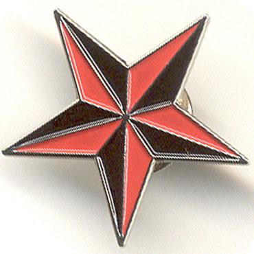 Nautical Star Redblack Pin Metalico Metal Pin