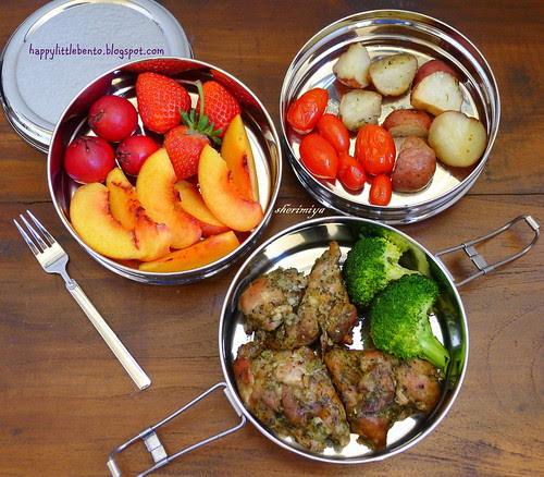 Herby Chicken and Potatoes ECOlunchbox Tri Bento by sherimiya ♥
