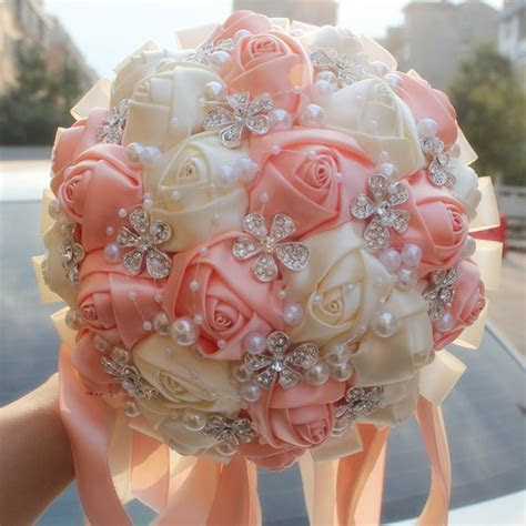 Coral Pink Ivory Champagne Satin Rose Festival Stitch