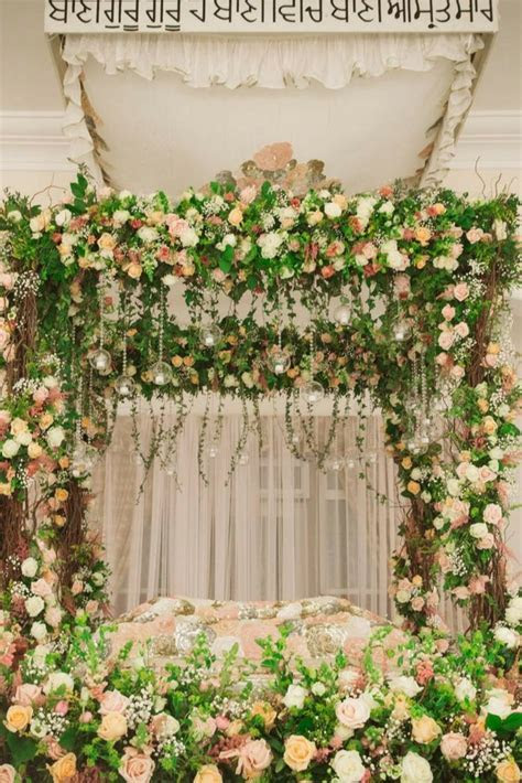 Sikh Gurdwara decor, floral stage and arrangement by 1SW