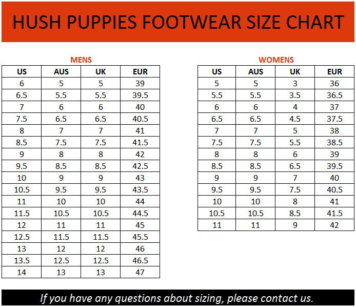 Hush Puppies Mens Shoes Size Chart Hush Puppy Sandals