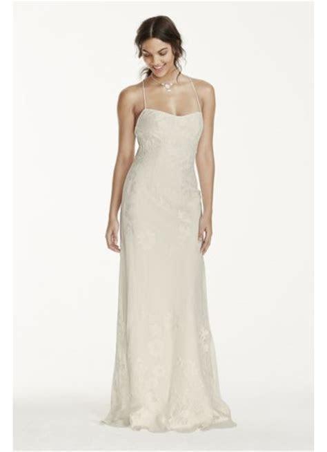 Lace Sheath Dress with Low Crisscross Back   David's Bridal