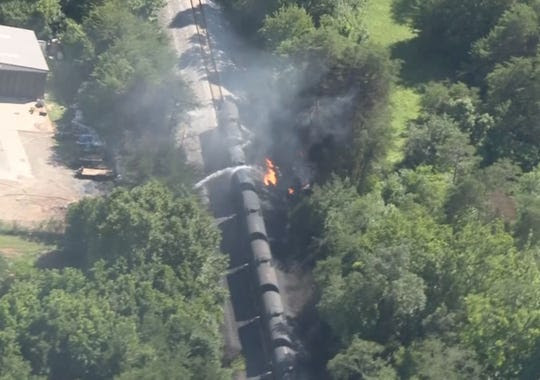 Aerial view of the train derailment in Blount County