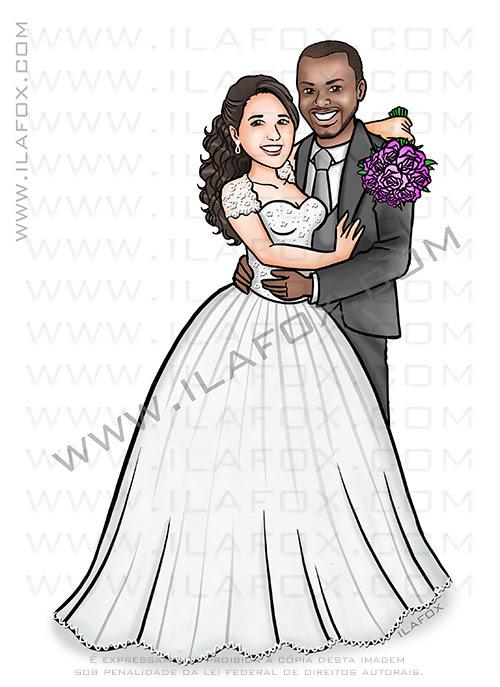 caricatura casal, caricatura noivos, caricatura proporcional, caricatura sem exageros, caricatura para casamento, caricatura bonita, by ila fox