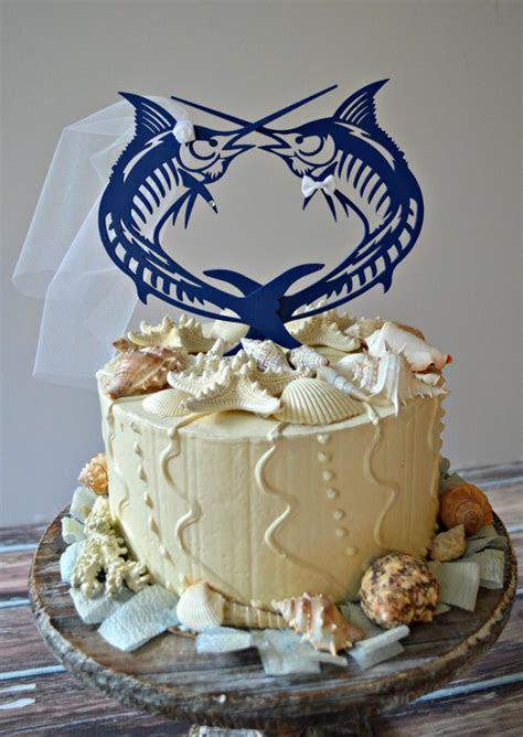Sailfish Marlin fish sport Fishing wedding cake Topper