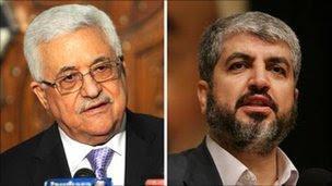 Mahmoud Abbas (L) and Khaled Meshaal, file pic