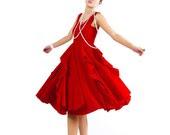 Red linen dress prom dress midi dress ruffled dress (MM05) - xiaolizi