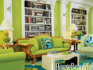 A shocking bright green palate was used for the living room of this New York apartment by designers William Diamond and Anthony Baratta.