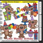 Little Monkey Birthday Layered Templates - CU
