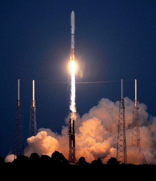 The Atlas V rocket carrying the OTV is launched from Cape Canaveral Air Force Station in Florida, on April 22, 2010.