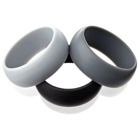 3 Men Silicone Wedding Ring Set Black Grey Platinum Rubber