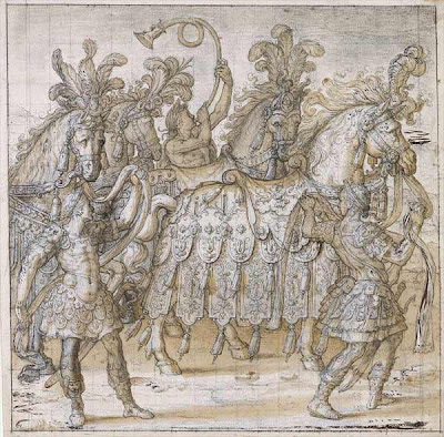 Henri Lerambert sketch of King's funeral procession - details of horse covering
