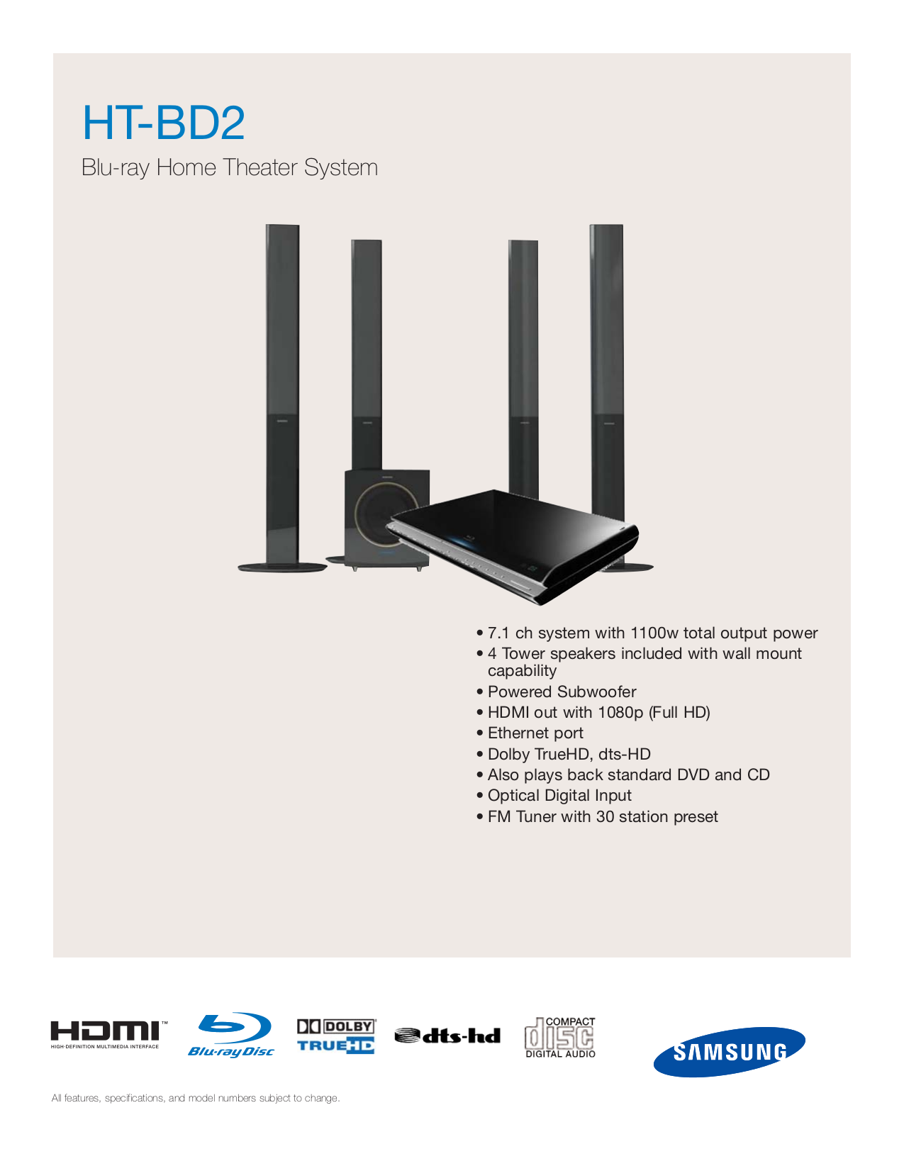 Samsung Blu Ray Home Theater System Ht Bd2