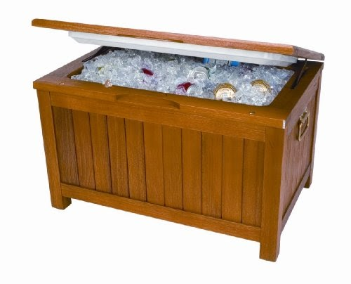Igloo 75 Can Eucalyptus Wood Patio Box Cooler Storage Bench