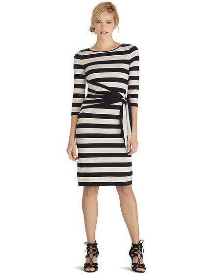 3/4 Sleeve Stripe Shift Dress