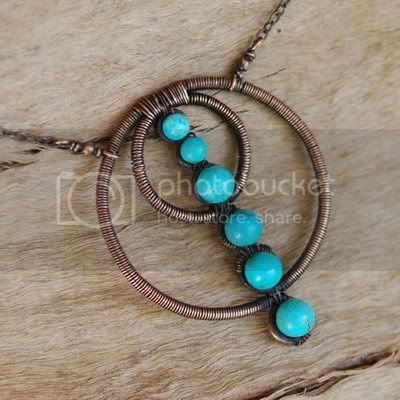 Copper Circles and Turquoise Artisan Wire Wrapped Necklace
