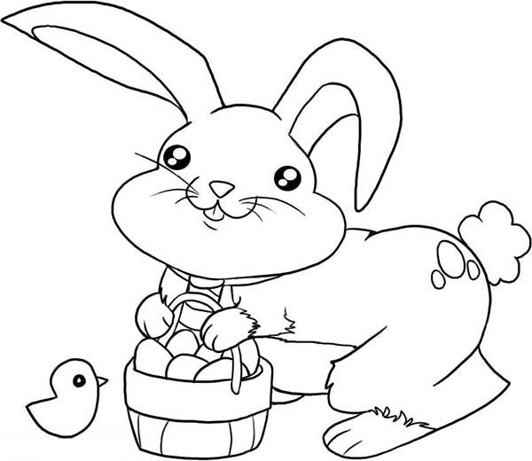 Cute Little Bunny with a Basket of Eggs Coloring Page ...
