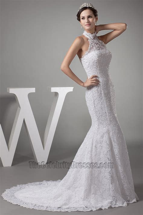 Trumpet /Mermaid Halter Lace Wedding Dresses