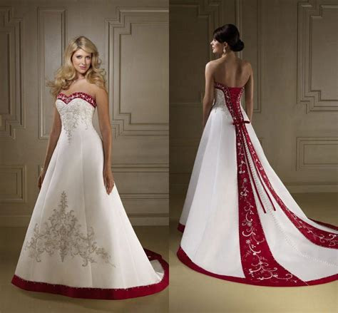 Discount 2016 Exquisite Sweetheart Red And White Wedding