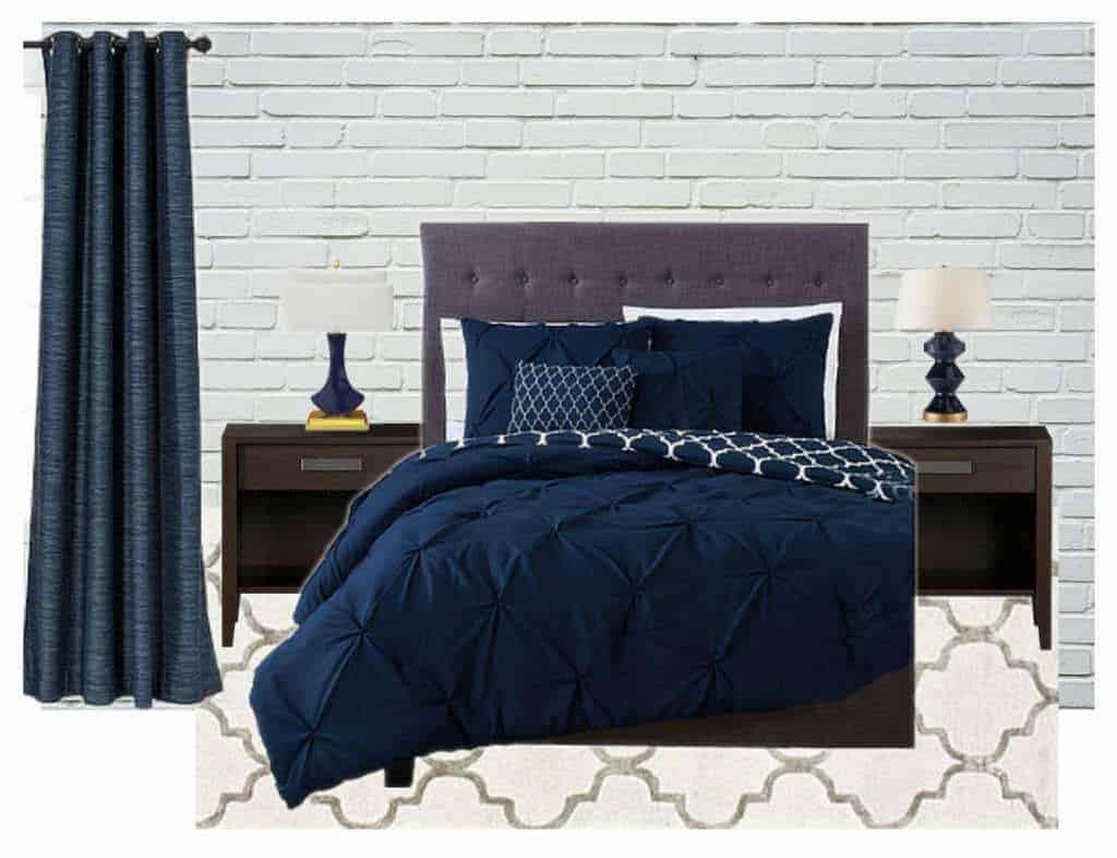 Master Bedroom Inspiration - Navy Blue and Gray - The