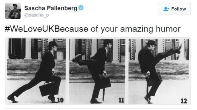 Tweet saying somebody loves the UK because of Monty Python silly walks