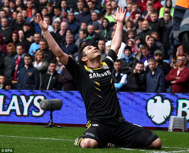 Greatness: Frank Lampard lets it sink in after he became Chelsea's greatest ever goal scorer
