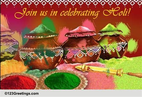 A Colorful Holi Invitation. Free Invitations eCards
