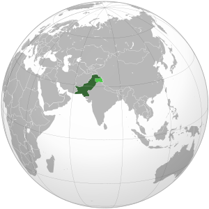 Location of Pakistan, including all areas cont...