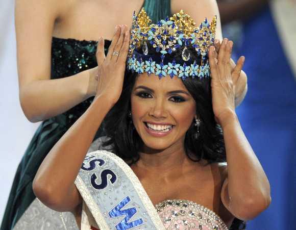 Miss Venezuela, Ivian Sarcos, is crowned Miss World 2011 in Earls Court in west London.
