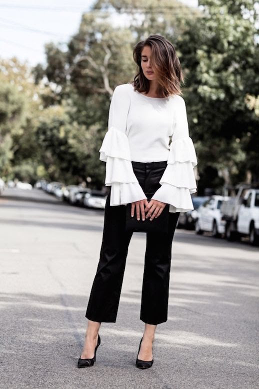 Le Fashion Blog Ruffle White Top Sleeves Black Trousers Via Harper And Harley
