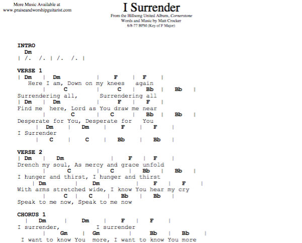 everyday power blog - Unique I Surrender All To You Lyrics Hillsong