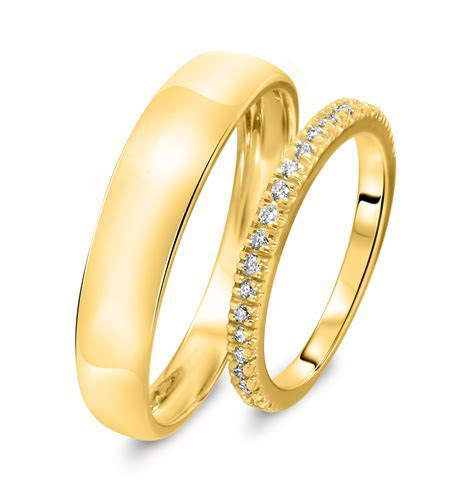 1/4 Carat T.W. Round Cut Diamond His And Hers Wedding Band