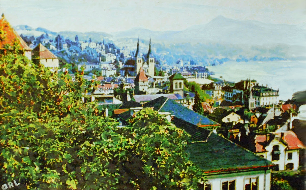 Lucerne Town Wall Original Multimedia Painting. Original, $330, 16x10 inches, $20 to $30, medium-size prints, free downloads. Overview of the city and background from near the Town Wall. Multimedia classical traditional modern acrylic oil paintings. GrlFineArt art fineart painting, room decor, paintings, prints, landscapes flowers, stillife, digitalabstracts