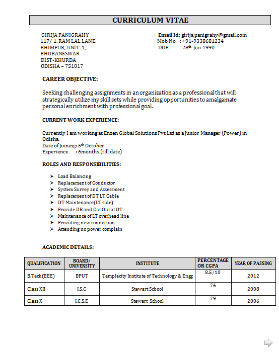 Job Resume Format Pdf For Freshers Best Resume Examples